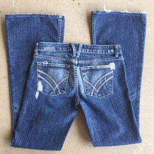 William Rast Daisy Super Flare Distressed Jeans 25